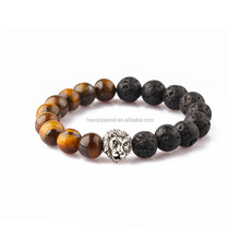 natural stone beads tiger eye black agate bead silver lion bracelet men bracelet