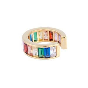 efea31a2c Gold plated fashion women jewelry no piercing clip earrings for female  rainbow colorful cz circle cuff