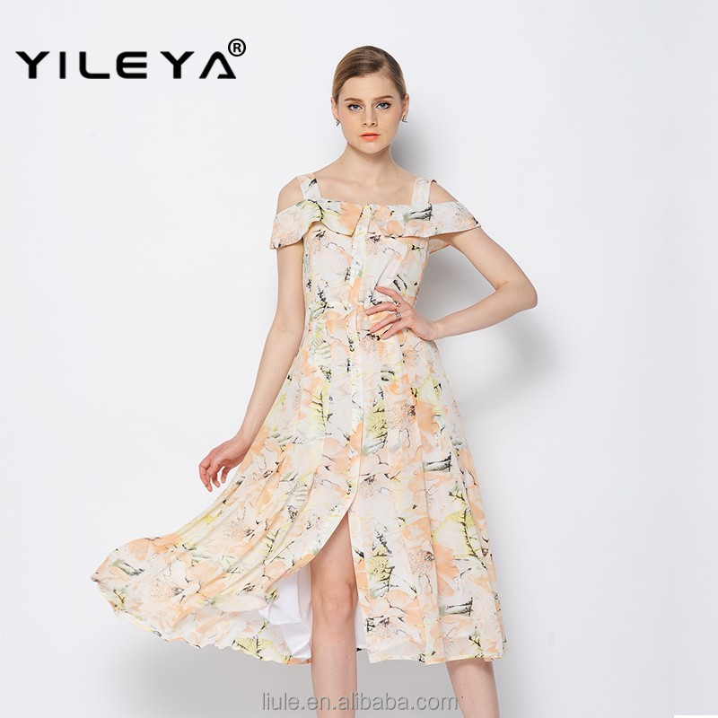 latest floral cute off shoulder summer beach women maxi dress