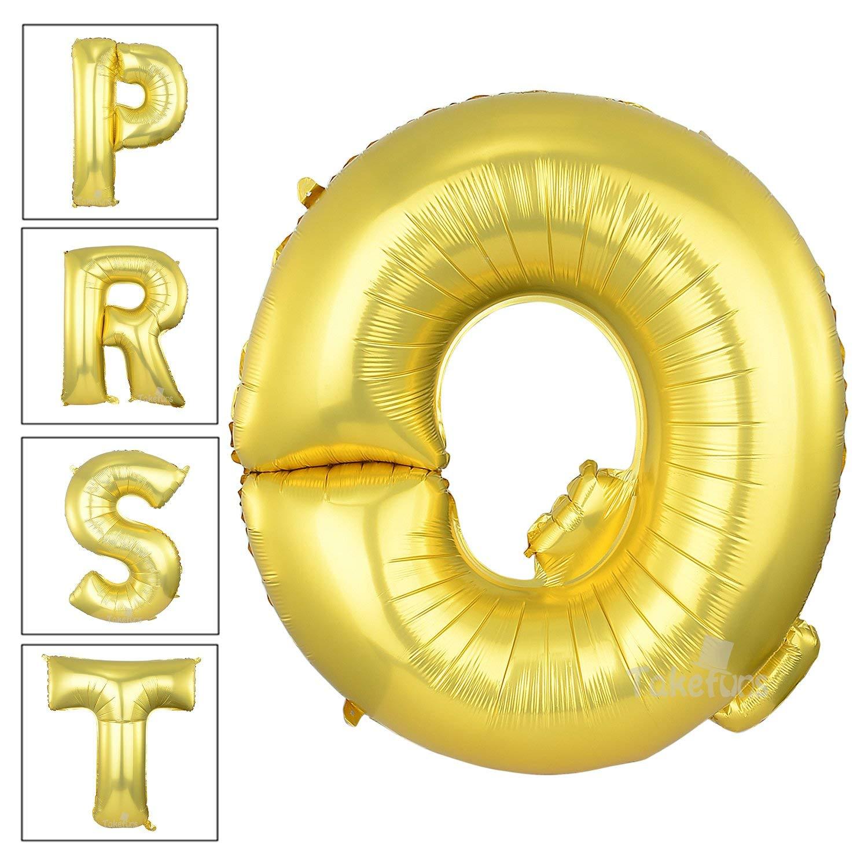 get quotations takefuns gold letter balloons 40 inch large mylar foil helium balloons jumbo alphabet balloons letter for