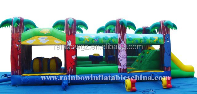 CE certificate Backyard children sport games with climbing wall and inflatable toys