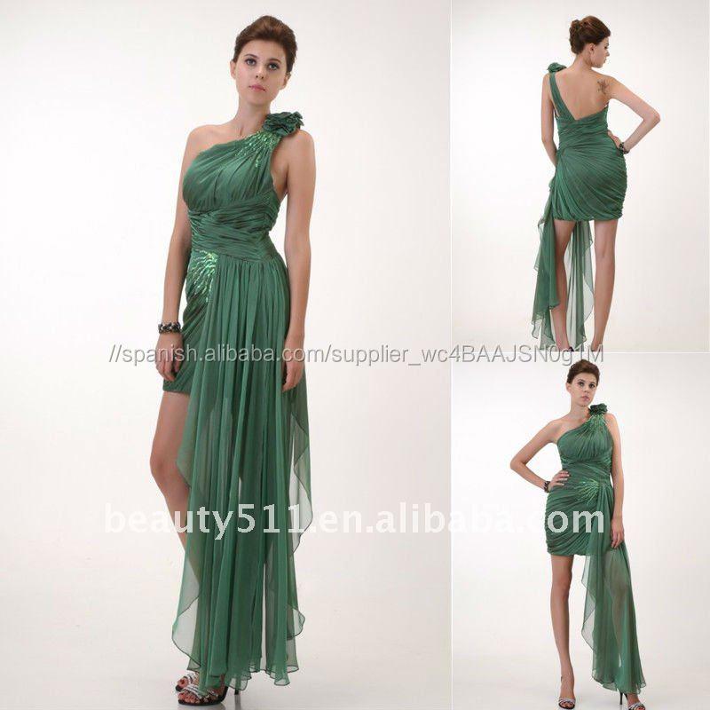 bcd6dcf8c5 Astergarden Fotos Reales Del Partido de Un hombro Gasa Verde Sexy Vestido  de Cóctel AS078