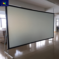 4:3 16:9 200 250 inch large portable outdoor fast fold front rear projector screen with foldable stand and portable flight case