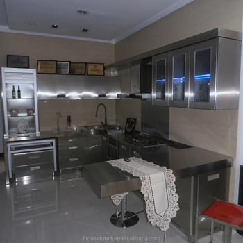 Menakjubkan Modern Desain Baru Stainless Steel Dan Kaca Dapur Kabinet Hotel Lemari