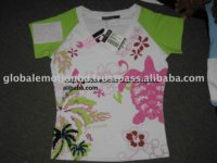 LADIES ALLOVER PRINTED T-SHIRT WITH HAND APPLICATION