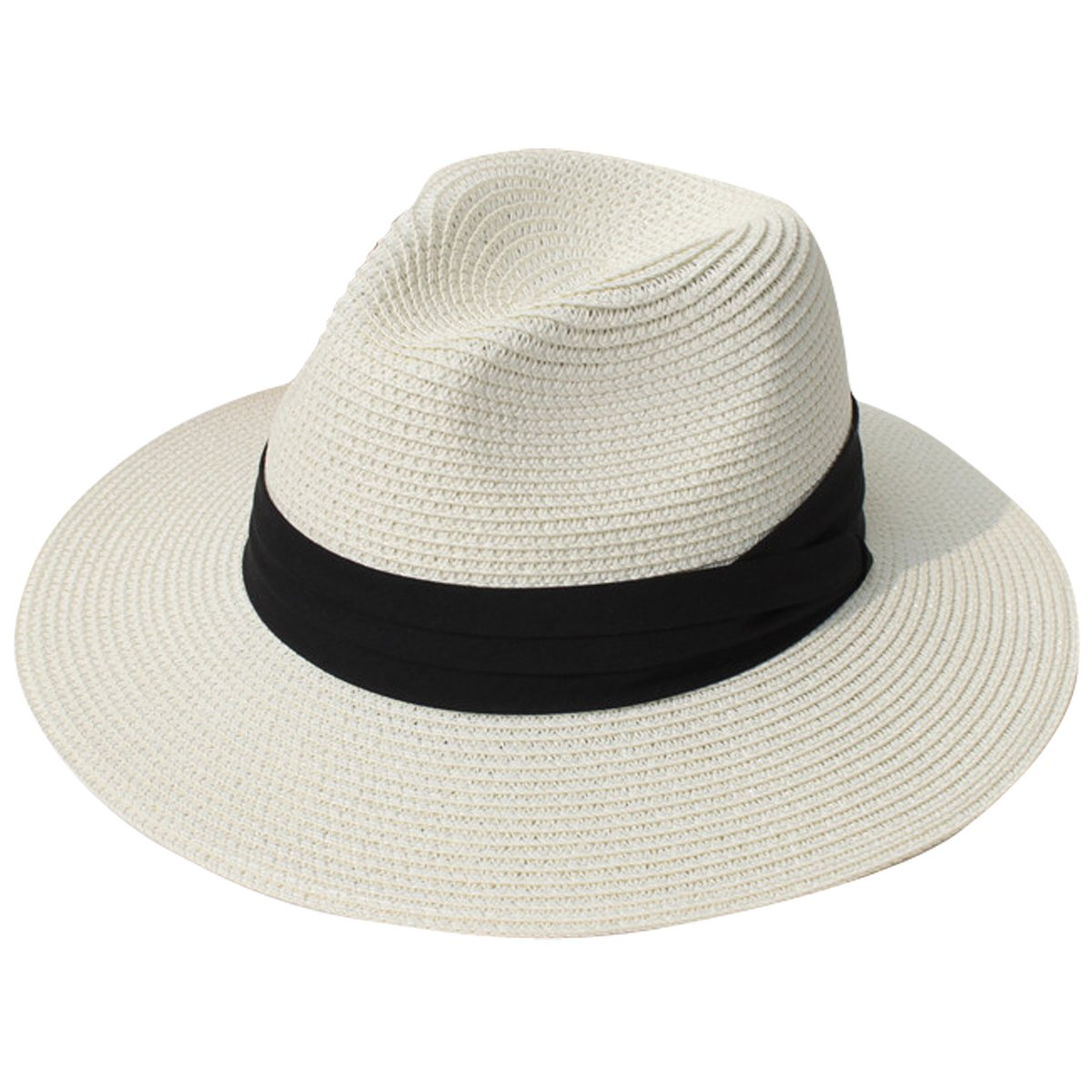 cf41779faff Get Quotations · JOYEBUY Womens UPF50 Foldable Summer Straw Hat Wide Brim  Fedora Sun Beach Hat