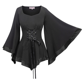69dfd9ba4f Belle Poque Retro Vintage 3 4 Bell Sleeves Victorian Gothic Corset Style  Tops BP000510