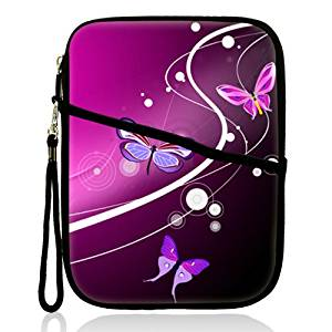 """Neoprene Super Padded Bubble Sleeve Case Cover with Extra Pocket for Accessories & Removable Carrying Handle Fits Apple iPad Mini / Amazon Kindle Fire HD / Google Nexus 7 / Samsung Galaxy / Asus / Acer / Archos and Similar Size 7"""" Tablet - Pink Butterfly Design"""