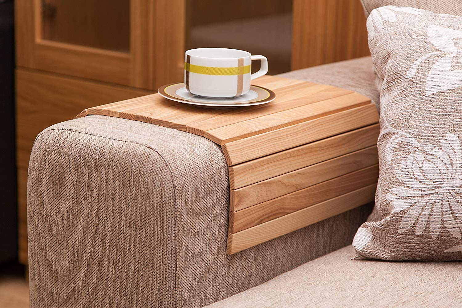 Get Quotations Natural Ash Sofa Side Tray Table Wood Armrest Surface