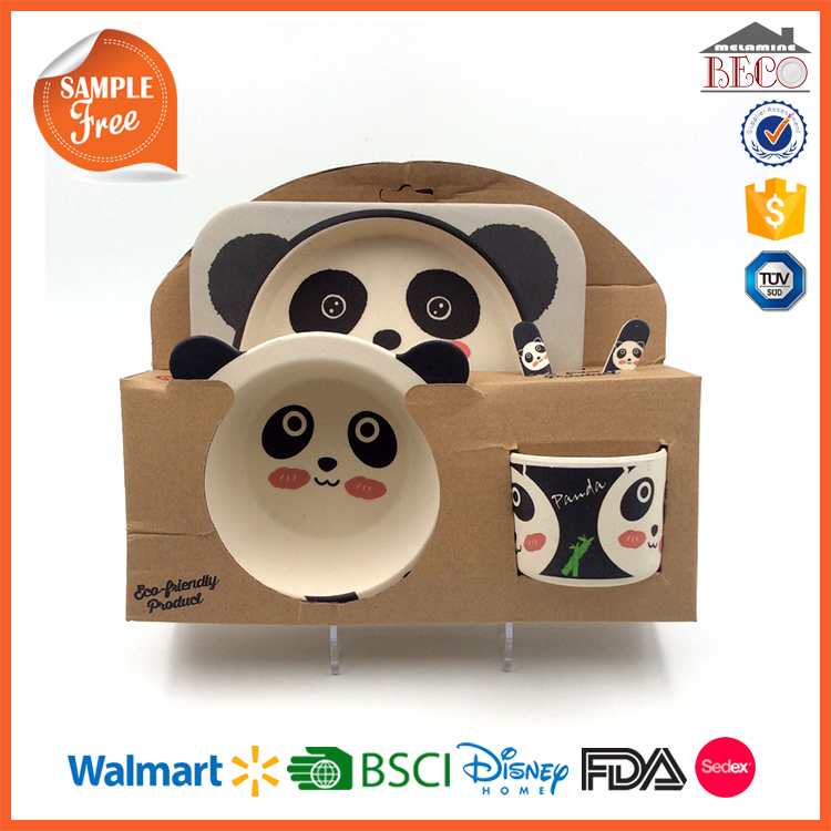 WM Factory Cow Design 100% Bamboo Fiber Kid Dinnerware Set
