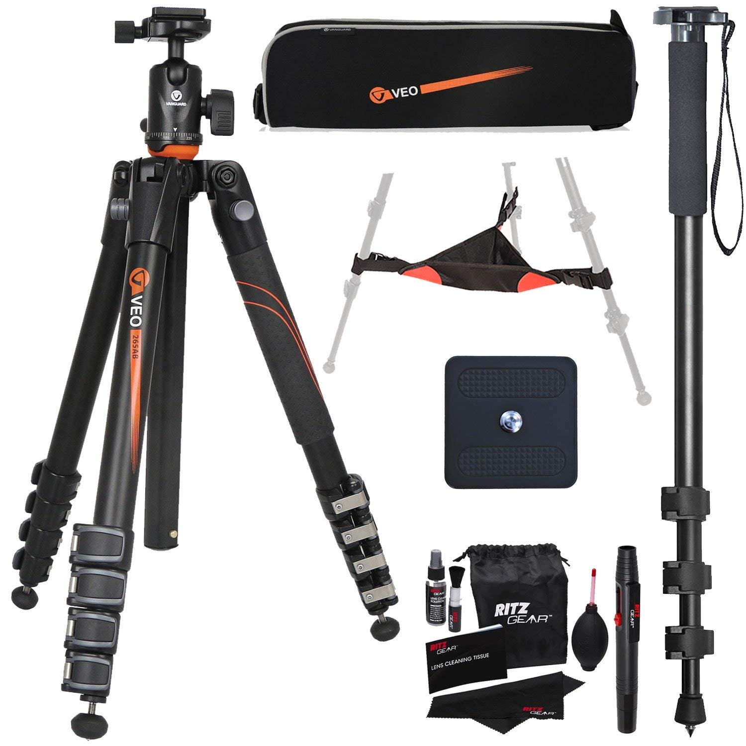 Vanguard VEO 265AB Aluminum Travel Tripod with Ball Head, 72-Inch Monopod with Quick Release, Ritz Gear Cleaning Kit, Ritz Gear Tripod Stone Bag, and Accessory Bundle