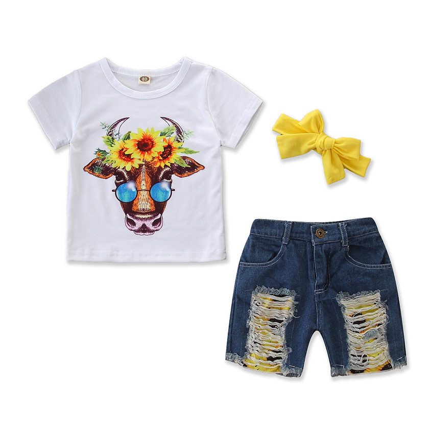2019 summer new girls cotton flower cow t shirts + hole denim shorts set outwear children's suit cute kids casual clothing, As picture