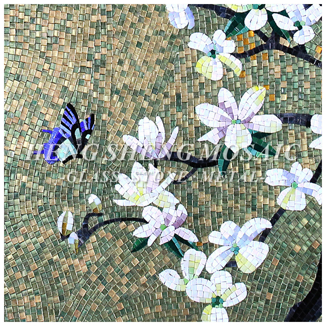 latest design flower picture mosaic pattern decorative mural tile