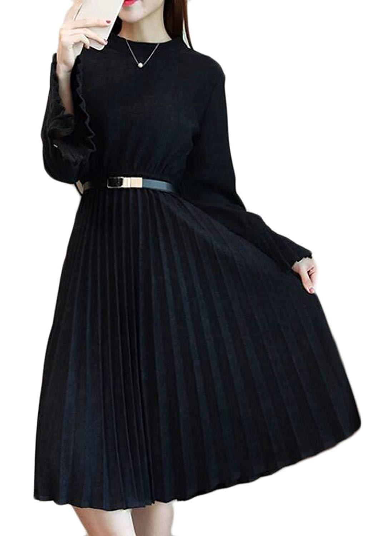 Alion Womens Recio Classic Round Neck Bell Sleeve Wool Blend Thicken Mini Dress