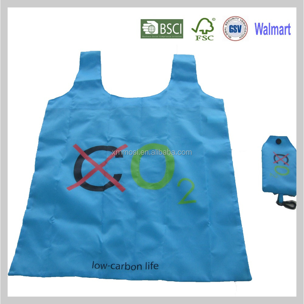 Cellphone foldable polyester shopping bag for easy carry