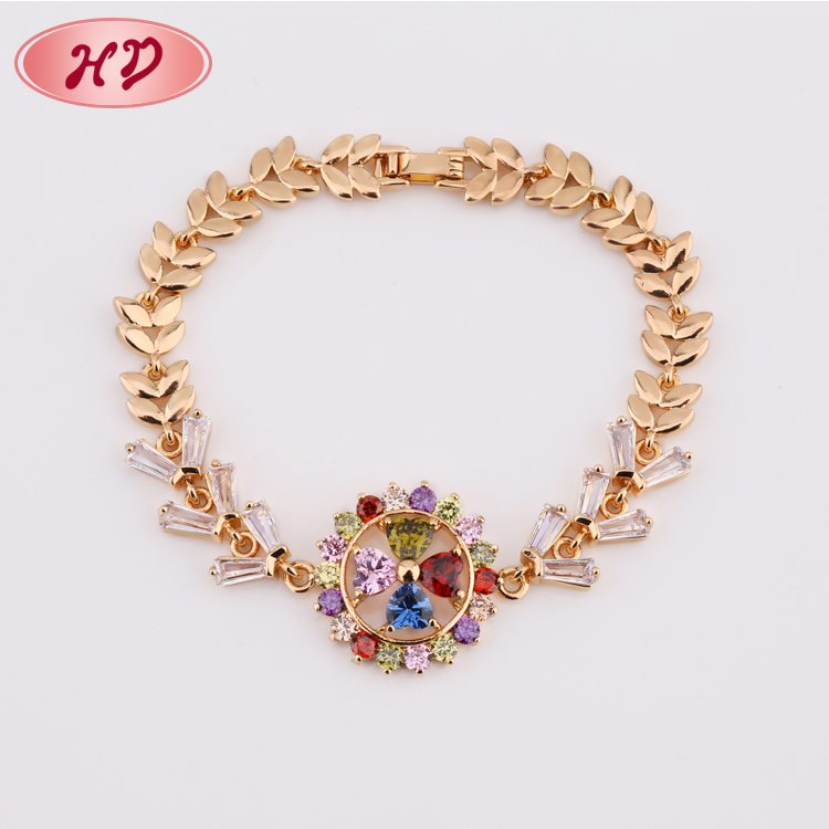 Colorful Clover shape CZ Jewelry Diamonds 18k gold plated Ladies Hand Charm Bracelet