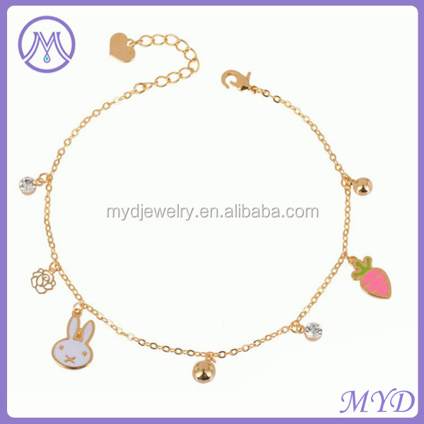 Fashion Jewelry Manufacturer Gold Plated White Rabbit Carrot Charm Woman Anklet