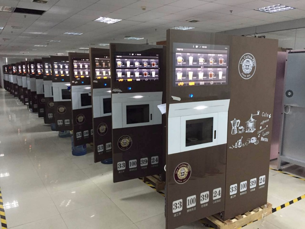 Big Touch Screen Espresso Coffee Vending Machine Free Standing With the most Diverse drinks