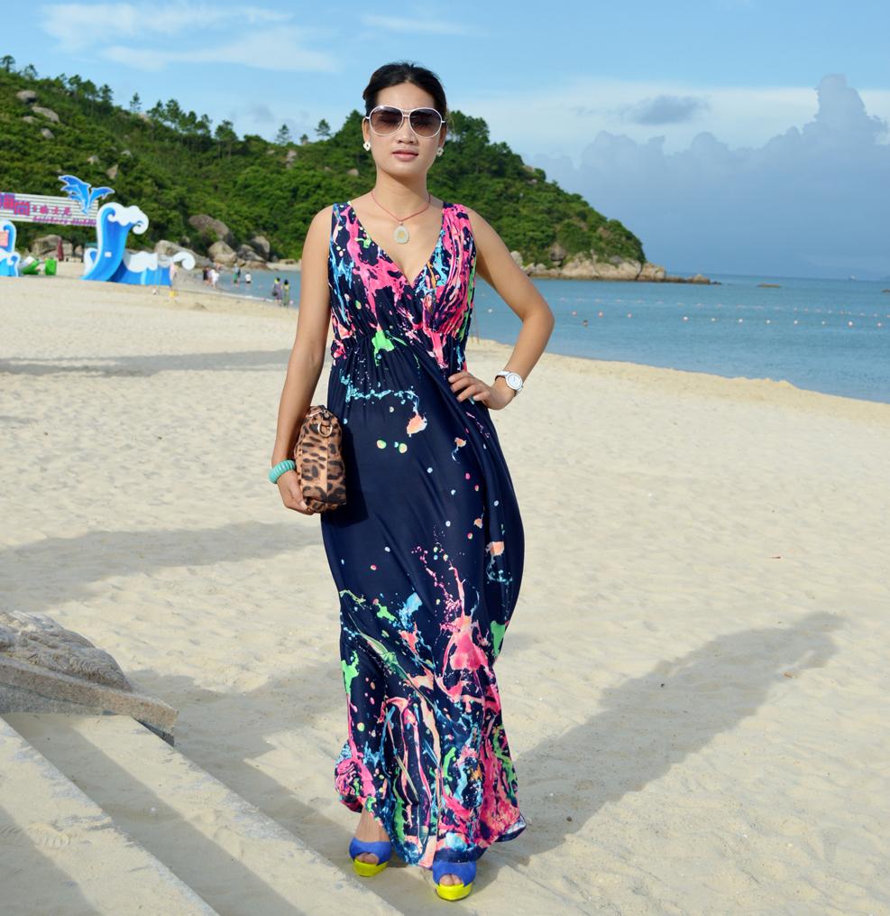 2015 summer sexy women long boho dress beach maxi dresses ...