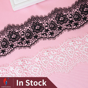 HM092-75 Latest designs black and withe polyester crochet lace skirt trim wholesale in stock