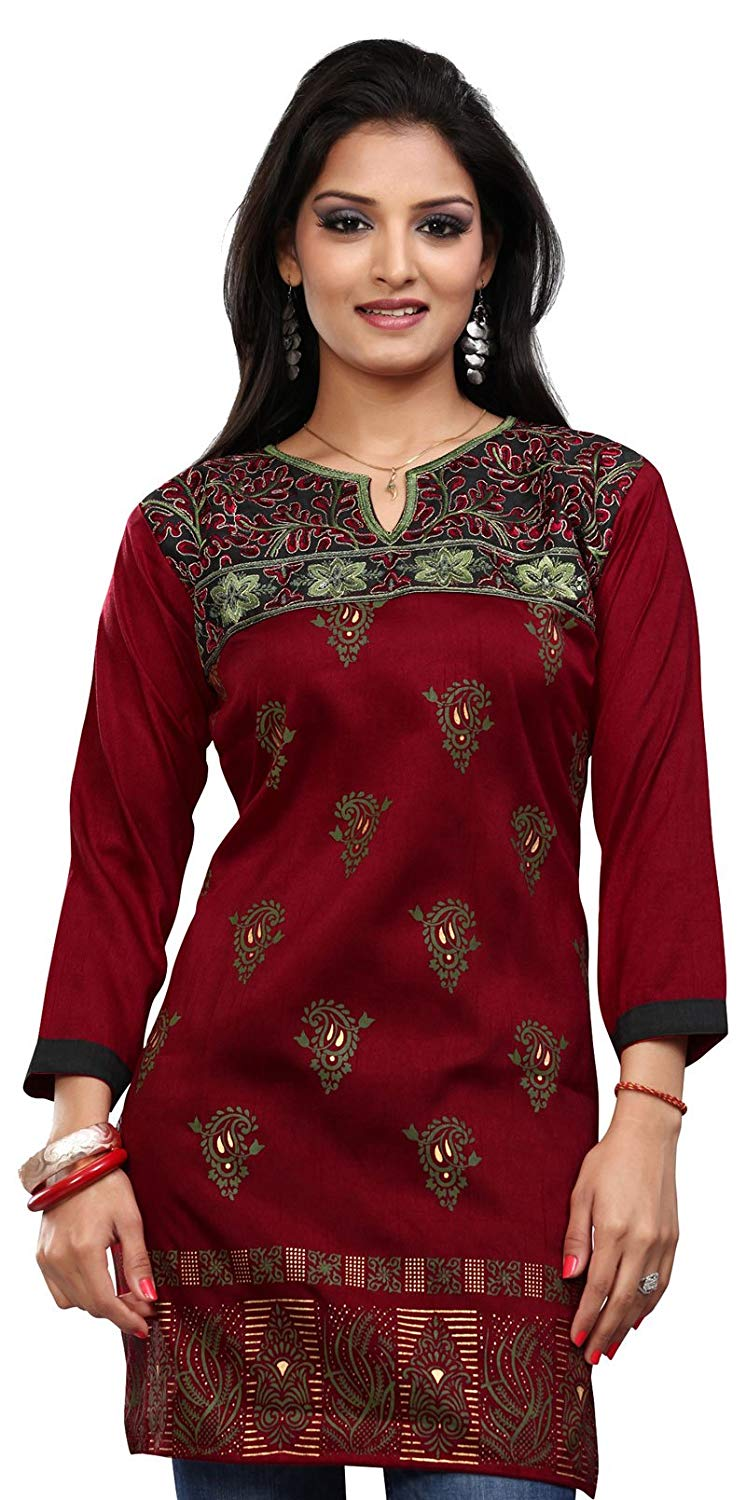 b37ca039f08 Long India Tunic Top Womens Kurti Printed Embroidered Blouse Indian Clothing