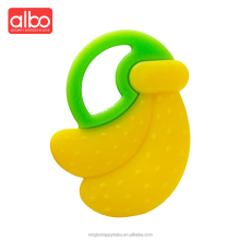 albo brand wholesale new design fruit style BPA free safety banana full silicone baby teether