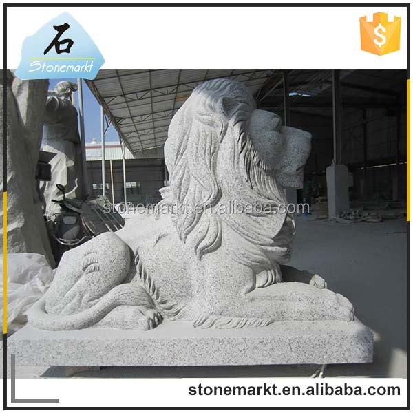 Chinese natural granite animal large stone outdoor lying lion garden statues