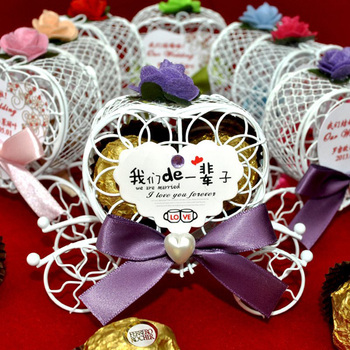 Wedding Candy Favor Box All Our Whole Life In Chinese Pumpkin Metal Carriage Chocolate