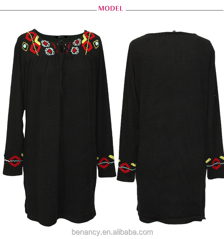 China Supplier Ethnic Embroidery Boho Traditional Black Cotton Robe Dress