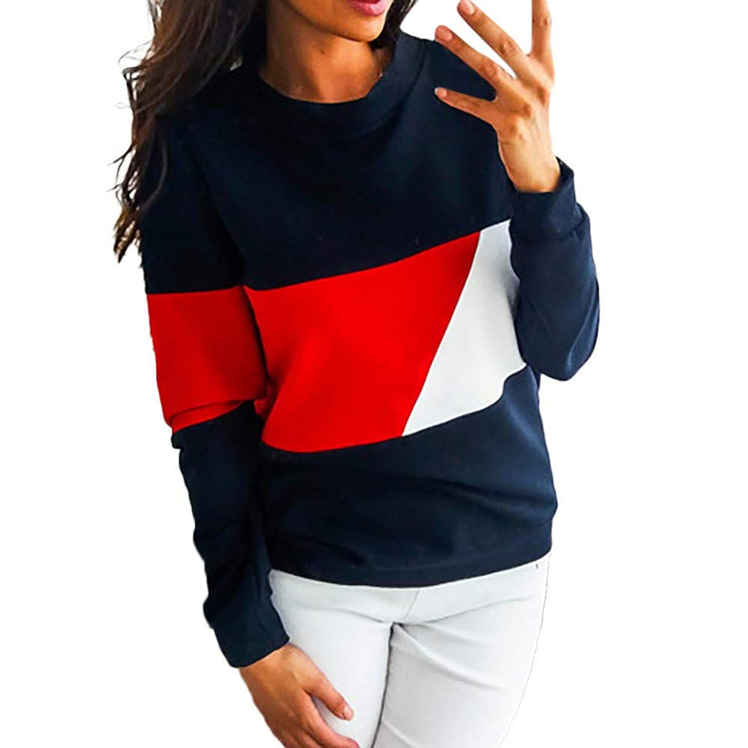 F_topbu Blouses for Women Clearance,Girls Long Sleeve Color Block Tunic Shirt Casual Loose Tops Fashion T-Shirt (Polyester)
