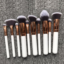 NEW design rose gold private label 10pcs kabuki makeup brush set