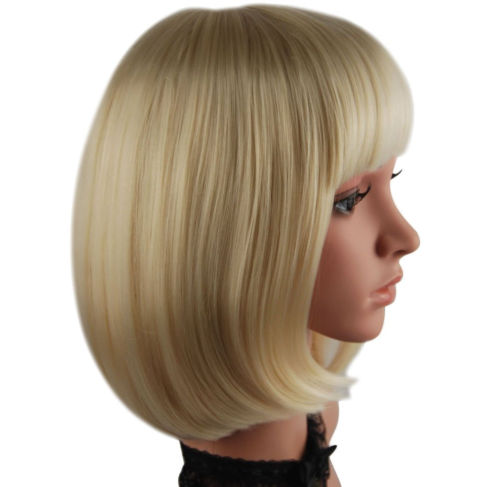 "eNilecor Short Bob Hair Wigs 12"" Straight with Flat Bangs Synthetic Colorful Cosplay Daily Party Wig for Women Natural As Real Hair+ Free Wig Cap (Light Blonde)"