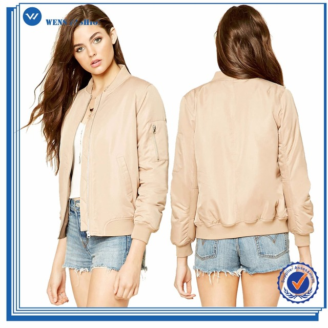 9d3faa6dfc8 Custom Wholesale Nylon Zipper Pockets Fashion Winter Jacket Satin Plain  Women Bomber Jackets Coat