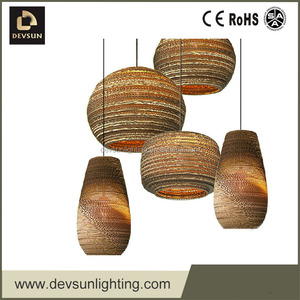 corrugated pape light replica suspension led light pendant lamp DP15105S-L