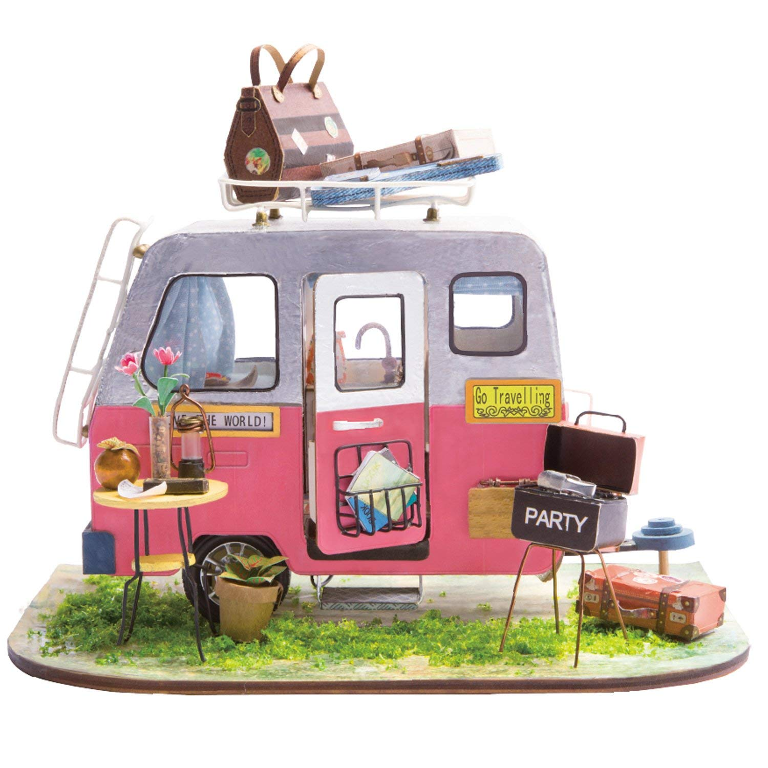 Rolife Mini Diy House Kit-Woodcraft Construction Kit-Wooden Model Building Set-Mini House Crafts-Creative Birthday Mothers Day Gift For Boys Girls Women and Friends(Camper)
