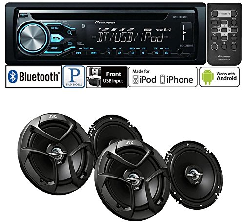 "Pioneer Package DEH-X4800BT Single DIN In-Dash CD/AM/FM Bluetooth Car Stereo with 300 Watts 6-1/2"" 2-Way Coaxial Car Speakers ( 2 PAIRS)"