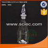 empty clear glass oil cruet bottle with shaped glass lid 330ml