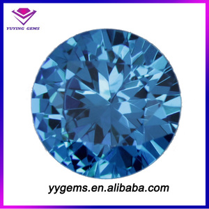 China Supplier Round Shape Cubic Zircon Blue CZ Stones for Earrings