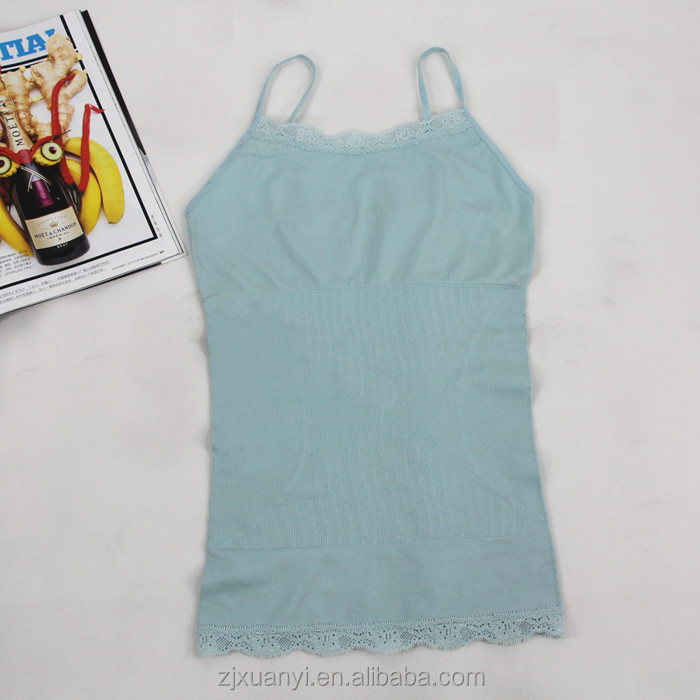 women sleeveless camisole solid color 100% cotton tank top wholesale