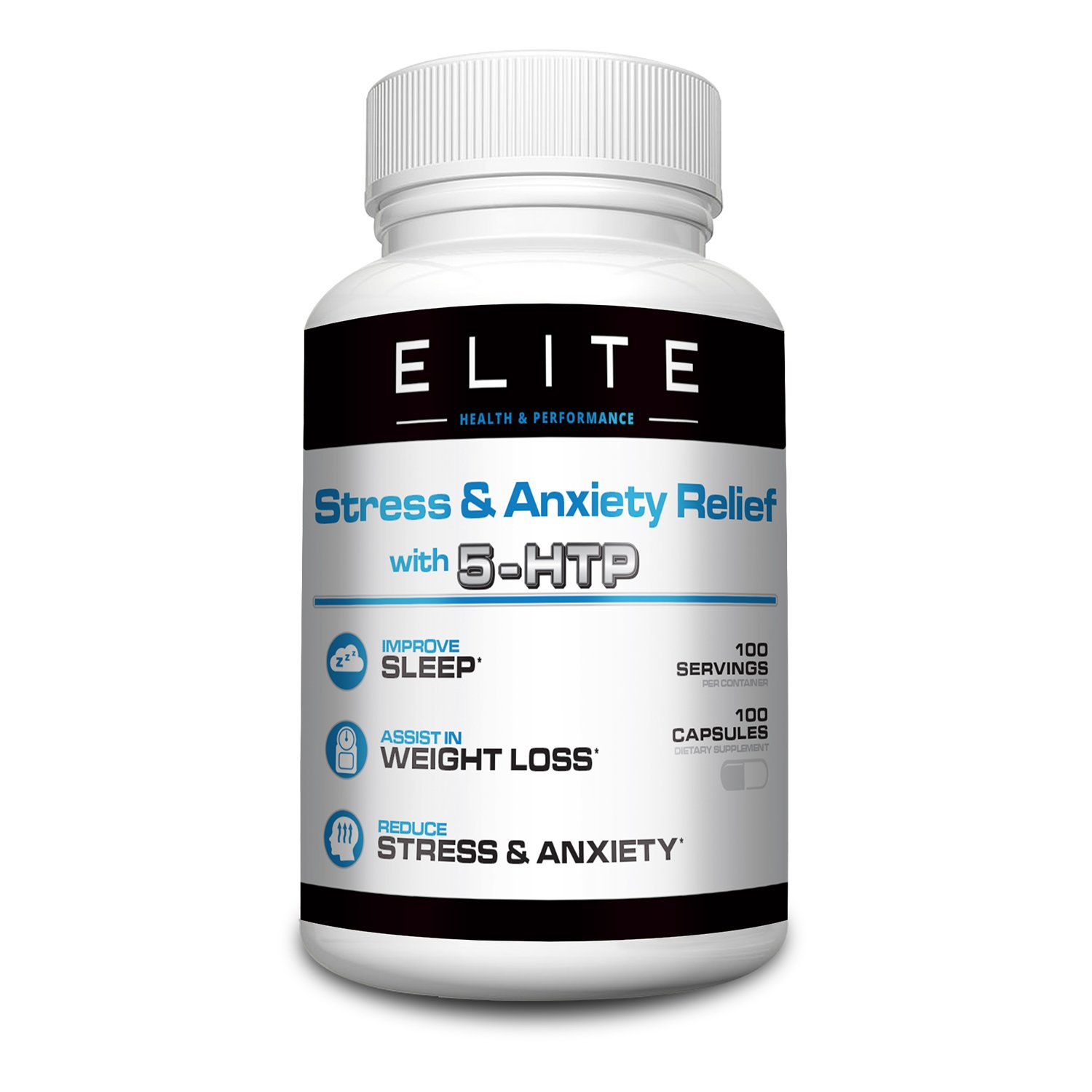 Anxiety Relief Supplement (100mg) by Elite Health and Performance — 5-HTP Stress Relief — Appetite Control — Improves Sleep, Mood & Focus — 100 Capsules — BONUS: 2 Free EBooks