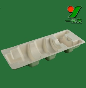 recycle unbleached customized vacuum forming paper molded pulp body scrub packaging wien bottle tray