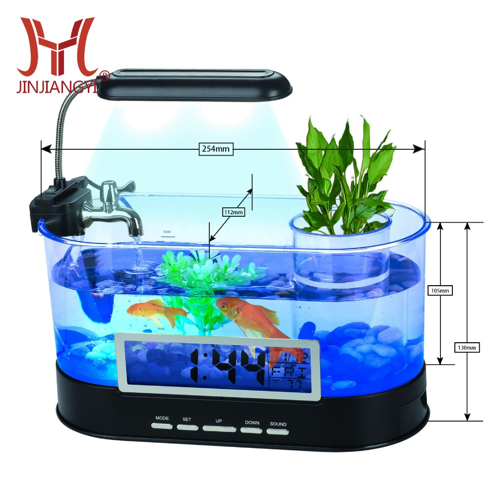 Hot selling USB Desktop aquarium farming Mini Aquarium met Running Water LCD Tijd Klok Alarm LED Lamp Light Kalender