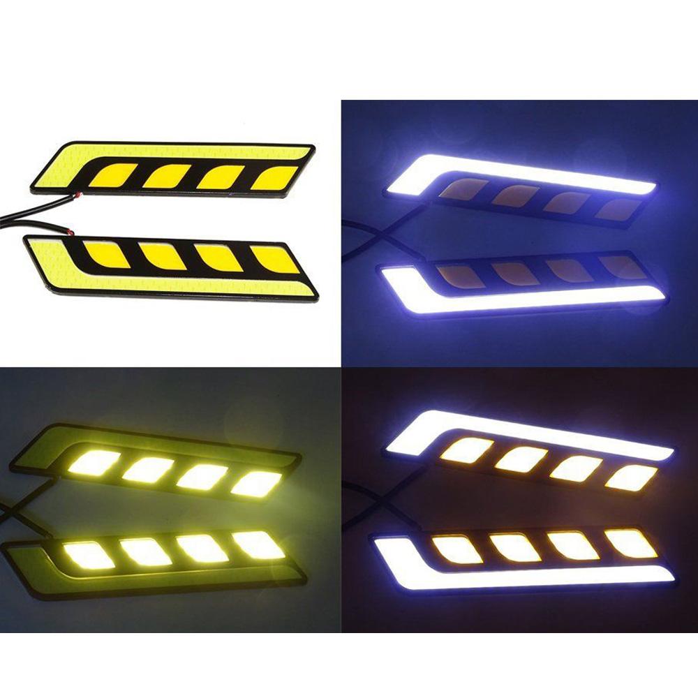 2x бело-янтарь горки COB из светодиодов автомобилей дневного света DRL указатель поворота