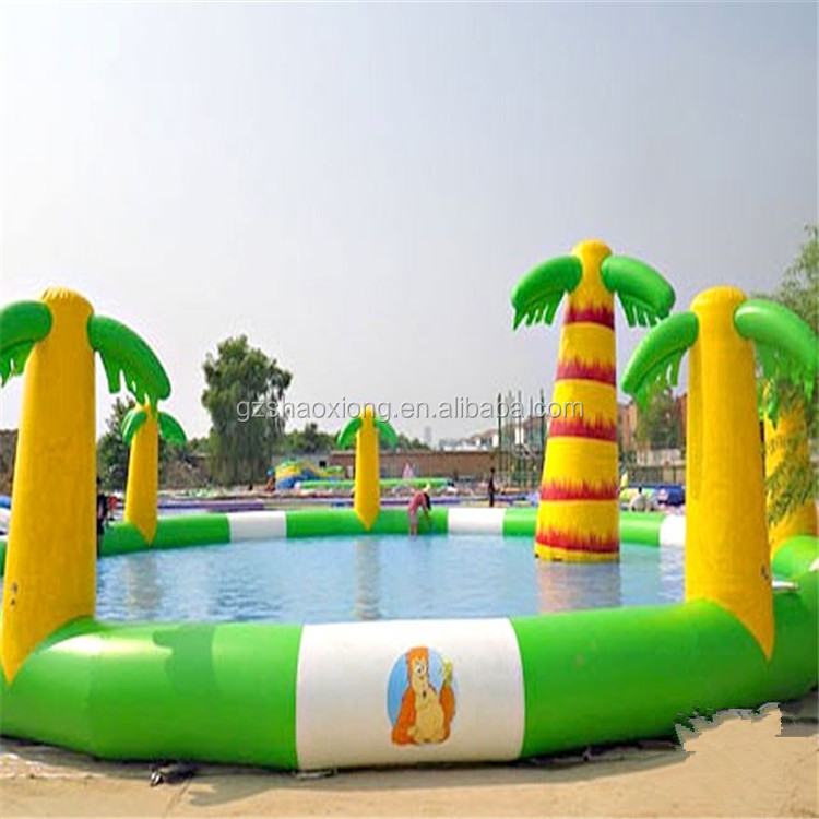 Commercial inflatable palm tree pool, inflatable water slide pool, pool inflatable toys
