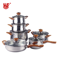 RONGFENG stainless steel stock pot set gas range 12pcs large soup pot Double bottom cooking pan with double ears