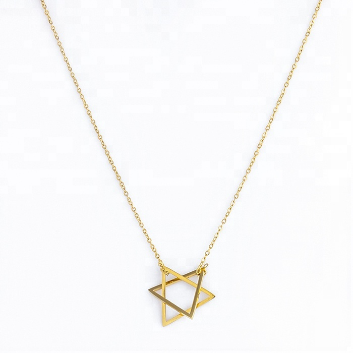 Miss Jewelry Women's Personalized Gold Plated Line Star Necklace Sterling <strong>Silver</strong> 925