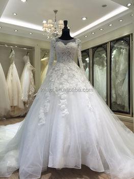 7b83e34425 2017 Long Sleeve Big Train Vara Wang White Wedding Dress - Buy ...