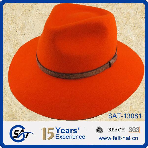 5a0dff2202d9b Solid Blaze Orange 100% Wool Felt Fedora Hats - Buy Wool Felt ...