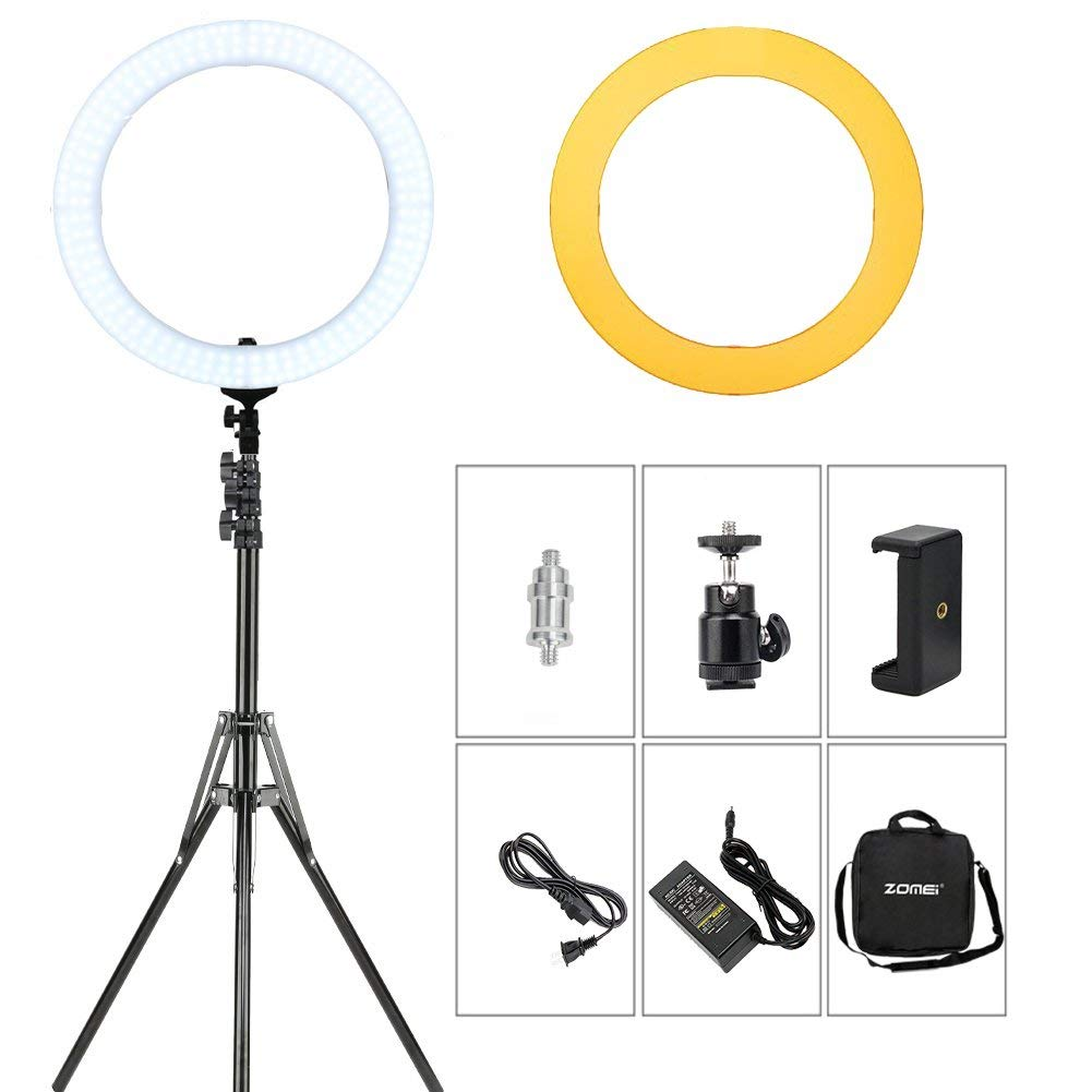 "ZOMEI 18"" LED Ring Light 5500K Photography Lights Dimmable Makeup YouTube Videos Photo Shoot Live Streaming Lights, Includes Phone Clamp, Tripod Head, Stand, Carrying Bag, Orange Filters"