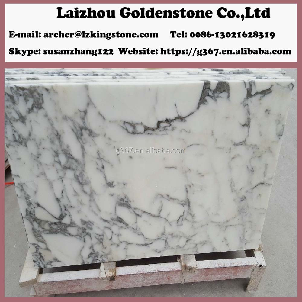 Polished Statuario White Marble slab For Countertop, wall tile, floor tile